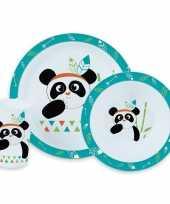 Feest panda artikelen panda servies set bordje kommetje bekertje