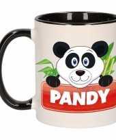 Feest pandabeer theebeker zwart wit pandy 300 ml