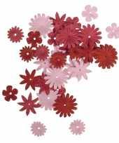 Feest papieren hobby bloemen rood roze 36 stuks