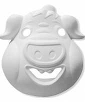 Feest papieren masker varken wit