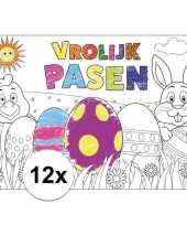 Feest papieren paas kleurplaat placemats 12 stuks