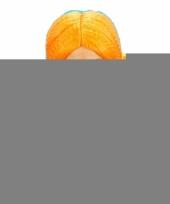 Feest party pruik met oranje vlechten