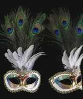 Feest pauw veren oogmasker handgemaakt
