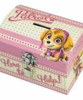 Feest paw patrol roze kinder spaarpot geldkistje 14 x 10 cm