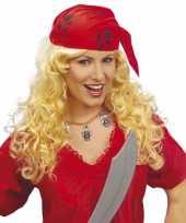 Feest piraten dames pruik met bandana