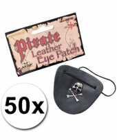 Feest piraten ooglapjes leder look 50x