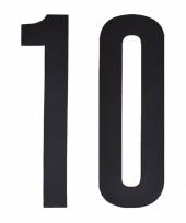 Feest plakcijfers 10 zwart 10 cm