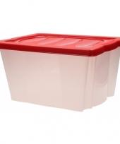 Feest plastic opbergbox met rode deksel