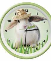Feest plastic wandklok konijn 25 cm