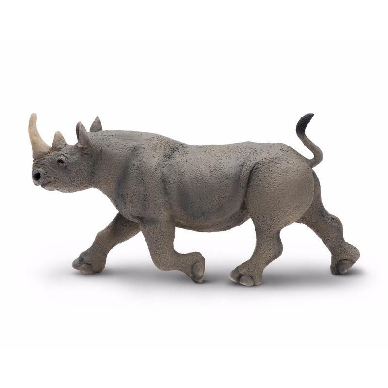 Feest plastic zwarte neushoorn 14 cm