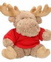 Feest pluche eland kerst knuffel 15 cm met-shirt