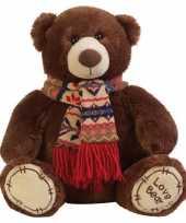 Feest pluche knuffel beer bruin met sjaal 65 cm