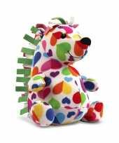 Feest pluche knuffel gekleurde egel 27 cm