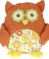 Feest pluche knuffel uil oranje 28 cm