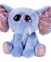 Feest pluche olifant knuffel blauw 15 cm