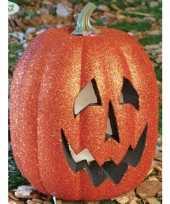 Feest pompoen versiering met lichtjes voor halloween 25 cm