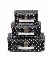 Feest poppen koffertje zwart met witte stippen 16 cm