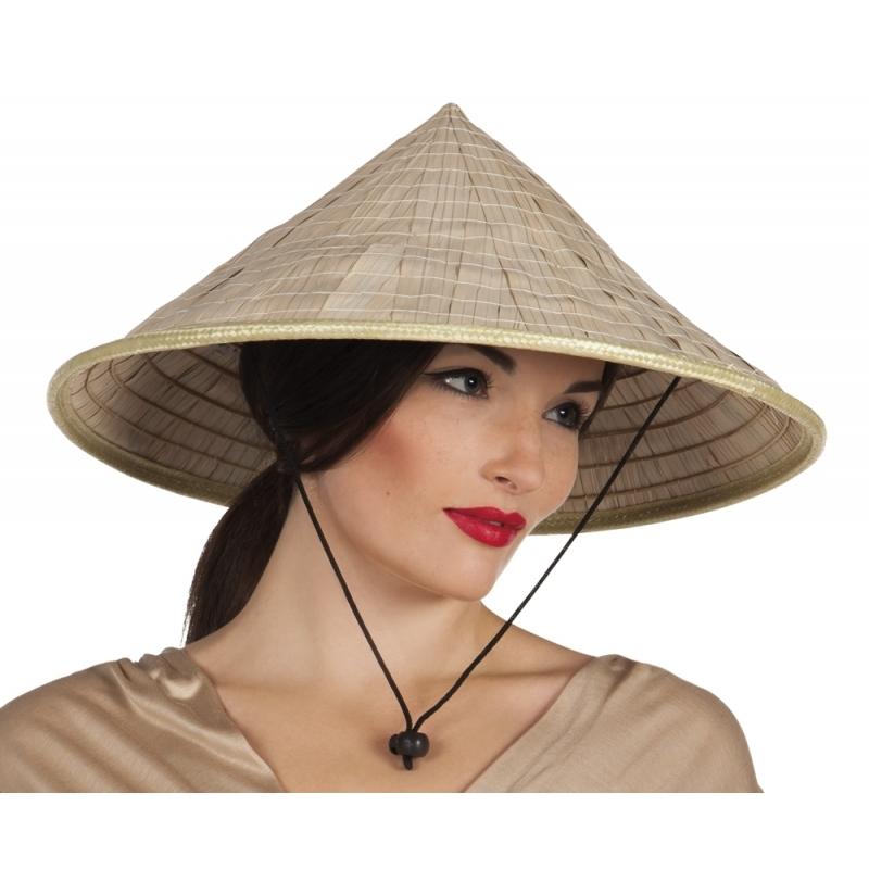 Feest puntige hoed van stro aziatisch