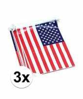 Feest rechthoekige amerika vlaggenlijnen 3 stuks