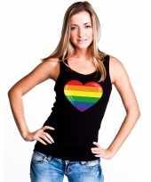 Feest regenboog vlag in hart singlet-shirt tanktop zwart dames