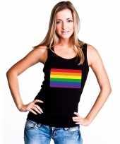 Feest regenboog vlag singlet-shirt tanktop zwart dames