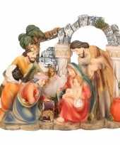 Feest religieus kerst beeldje van het heilige gezin en 3 wijzen 14 cm