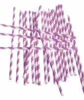 Feest rietjes lila paars gestreept 24 stuks