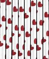 Feest rietjes met rode hartjes 10 stuks