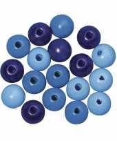 Feest rijgkraaltjes blauw gekleurd 6 mm