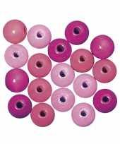 Feest rijgkraaltjes roze gekleurd 6 mm