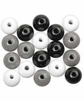 Feest rijgkraaltjes zwart wit zilver gekleurd 6 mm
