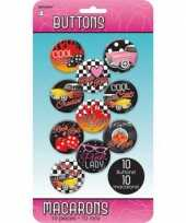 Feest rock and roll buttons 10 stuks