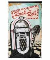 Feest rock n roll vlag 90 x 150 cm