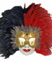 Feest rode en zwarte veren masker handgemaakt