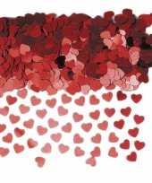 Feest rode glitter hartjes confetti 10 zakjes
