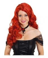 Feest rode gothic pruik voor dames