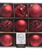 Feest rode kerstversiering kerstballen set van kunststof 9 stuks