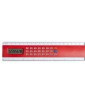Feest rode liniaal 20 cm met rekenmachine