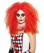 Feest rode luxe clownspruik xl voor volwassenen