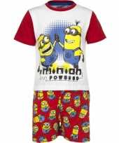 Feest rode minion powered korte pyjama jongens