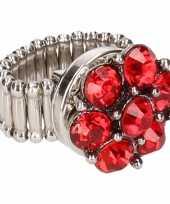 Feest rode steentjes chunk ring voor volwassenen