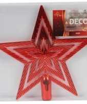 Feest rode ster piek kerstboomversiering 21 cm