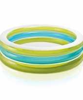 Feest rond zwembad groen blauw wit