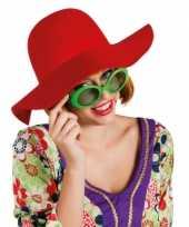 Feest ronde dames hoed rood