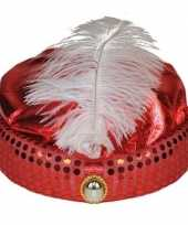 Feest rood arabisch sultan hoedje met diamant en veer