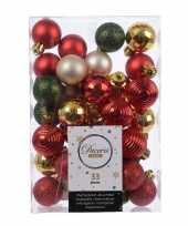 Feest rood groen gouden kerstversiering kerstballenset 33 stuks