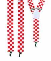 Feest rood met wit geblokte bretels