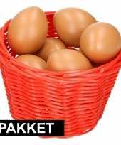 Feest rood paasmandje met eieren naturel 14 cm