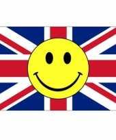 Feest rood wit blauwe vlag met smiley 90 x 150 cm