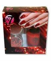 Feest rooden nagels pakket met glitter